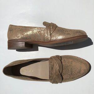 Anthro Lien Do Harriet Braided Loafers Gold Suede